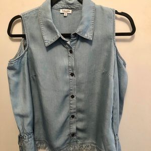 Splendid Cold Shoulder Frayed Denim Shirt